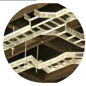 Bandejas porta cables tipo escalera, tipo malla y canaletas metálicas.